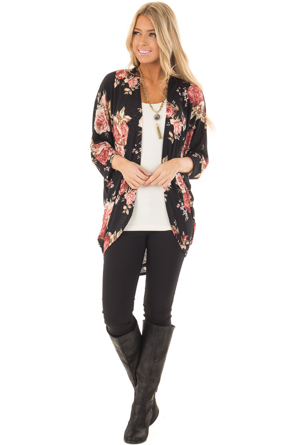 Black Floral Open Cardigan with Rounded Hemline front full body