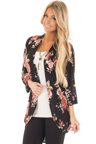 Black Floral Open Cardigan with Rounded Hemline front closeup