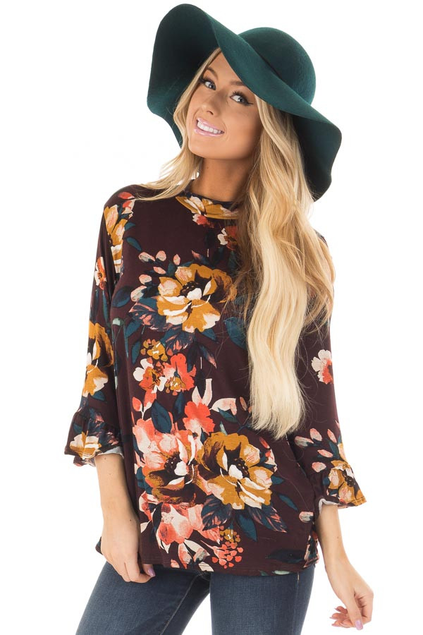Burgundy Floral High Neck Top with Trumpet Cuffed Sleeves front closeup