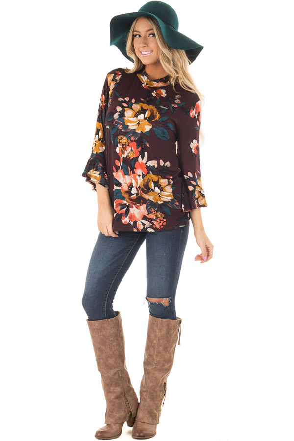 Burgundy Floral High Neck Top with Trumpet Cuffed Sleeves front full body