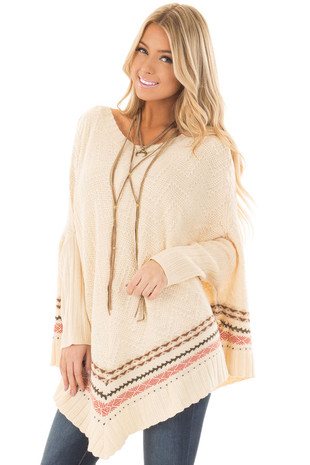 Oatmeal Poncho Style Tunic Sweater with Stripe Details front closeup