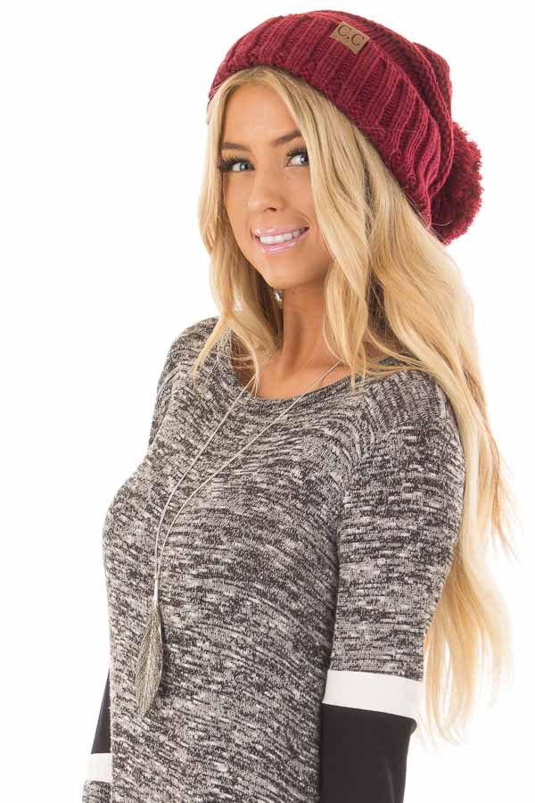 Burgundy Thick Knit Beanie with Pom Detail side view