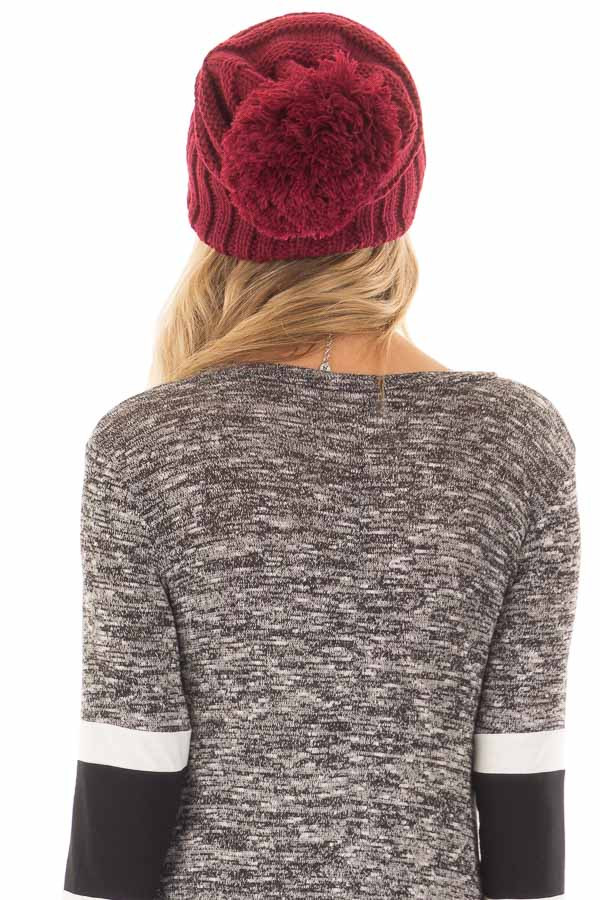 Burgundy Thick Knit Beanie with Pom Detail back view