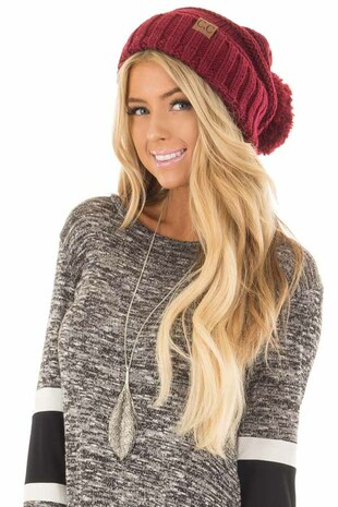 Burgundy Thick Knit Beanie with Pom Detail front view
