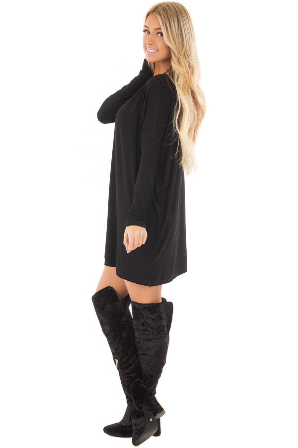 Black Long Sleeve V Neck Tunic side full body