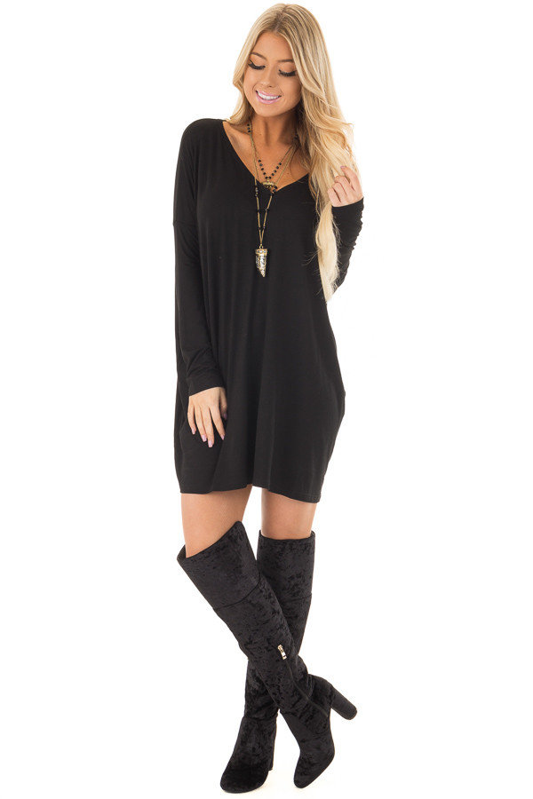 Black Long Sleeve V Neck Tunic front full body