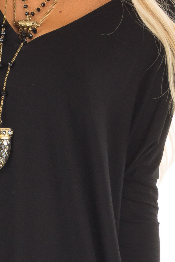 Black Long Sleeve V Neck Tunic front detail