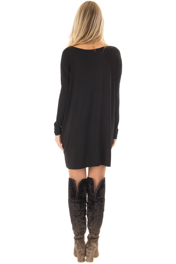 Black Long Sleeve V Neck Tunic back full body