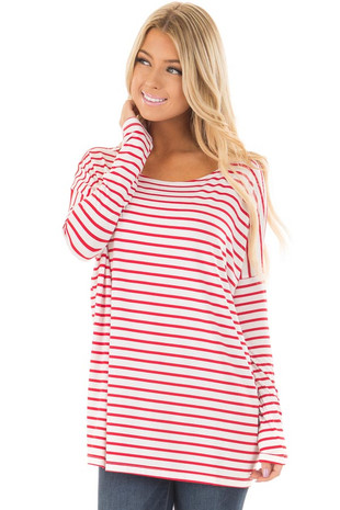 Red and White Striped Long Sleeve Top front closeup