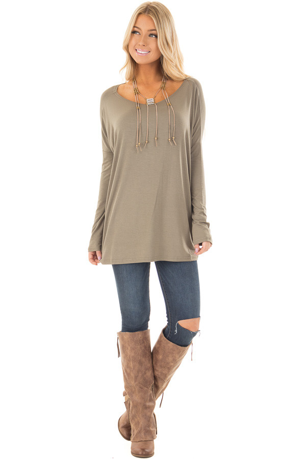 Olive Long Sleeve Top front full body