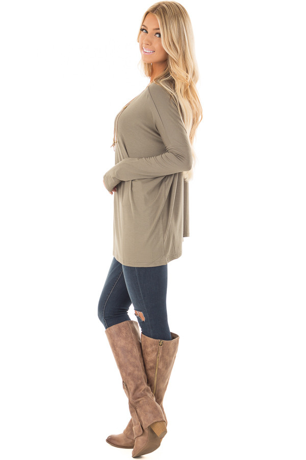 Olive Long Sleeve Top side full body