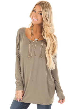 Olive Long Sleeve Top front closeup
