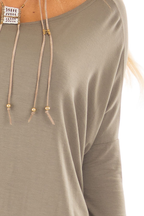 Olive Long Sleeve Top front detail