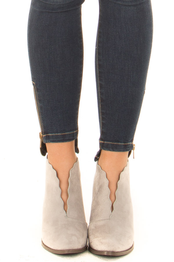 Light Grey Scalloped Edge Heeled Bootie front