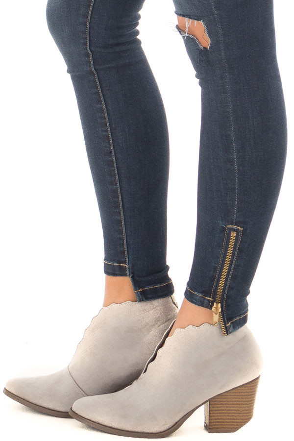 Light Grey Scalloped Edge Heeled Bootie side