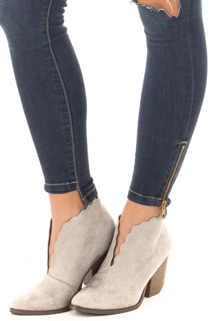Light Grey Scalloped Edge Heeled Bootie front side