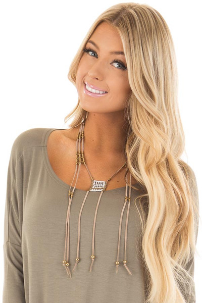 Taupe Faux Suede Layered Necklace with Beaded Details