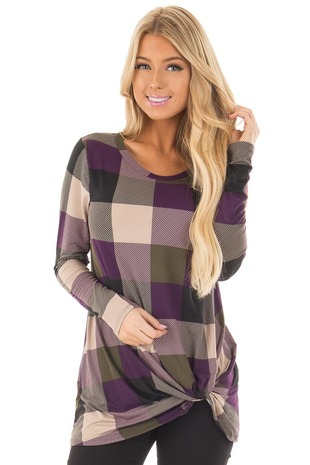 Plum Plaid Soft Long Sleeve Tee Shirt with Twist Detail front closeup