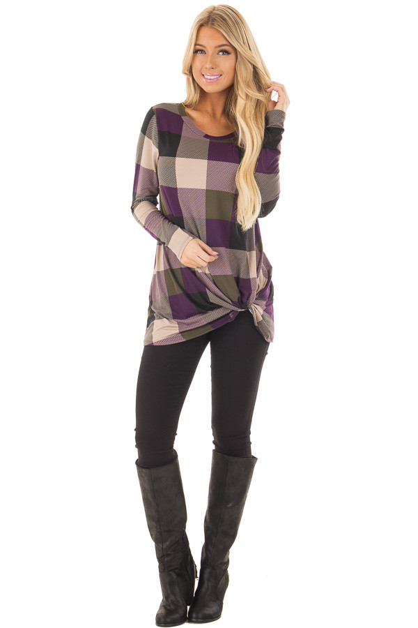 Plum Plaid Soft Long Sleeve Tee Shirt with Twist Detail front full body