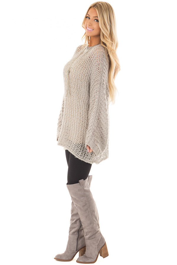 Heather Grey Thick Loose Knit Oversized Sweater side full body
