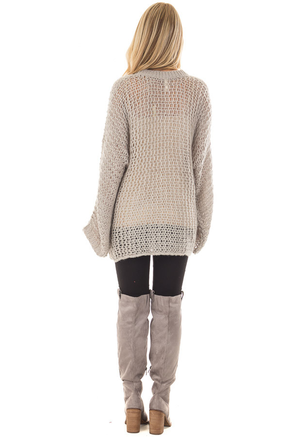 Heather Grey Thick Loose Knit Oversized Sweater back full body