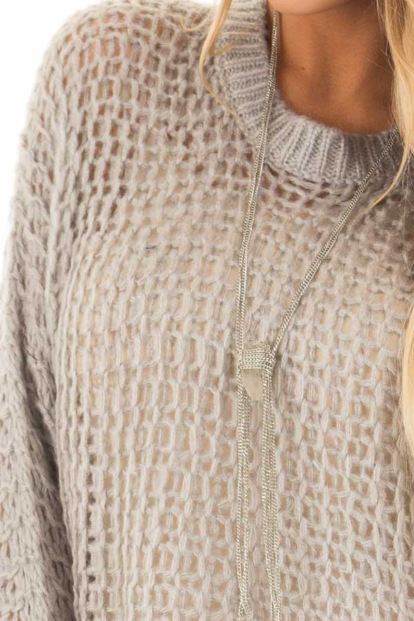 Heather Grey Thick Loose Knit Oversized Sweater front detail