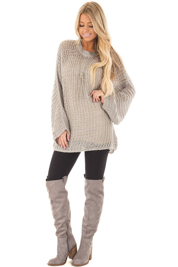 Heather Grey Thick Loose Knit Oversized Sweater front full body