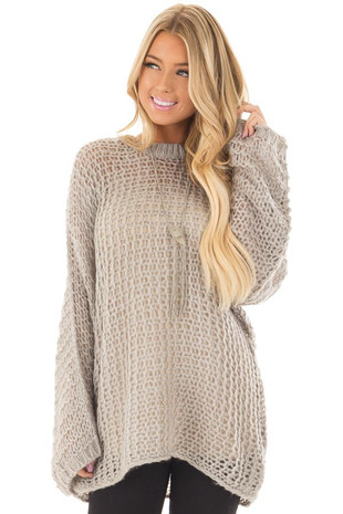 Heather Grey Thick Loose Knit Oversized Sweater front closeup