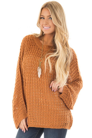 Rusty Copper Thick Loose Knit Oversized Sweater front closeup