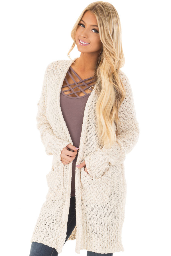 Cream Long Sleeve Open Cardigan with Front Pockets front closeup