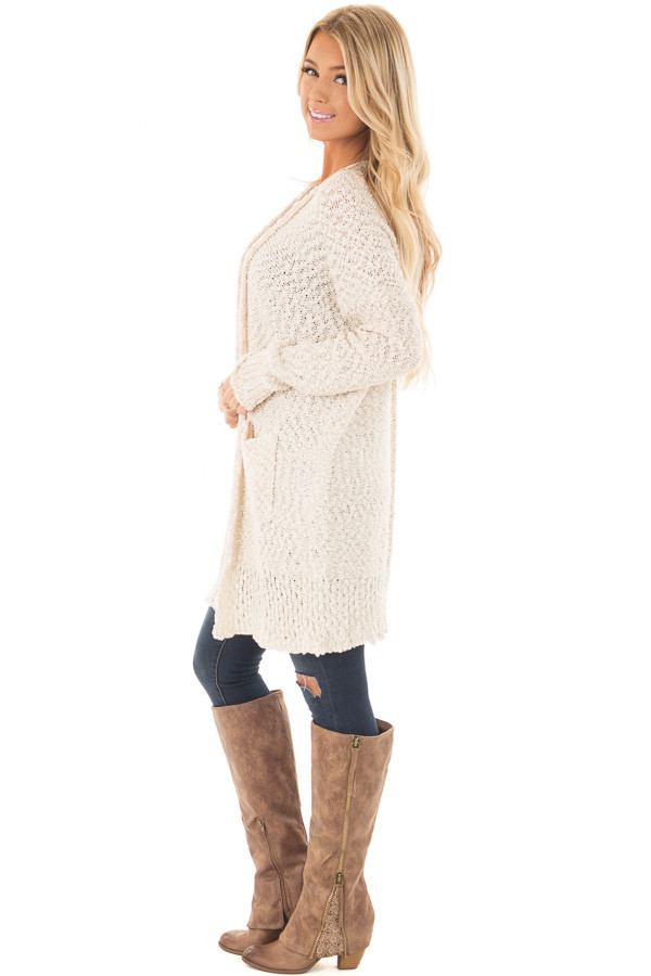 Cream Long Sleeve Open Cardigan with Front Pockets side full body