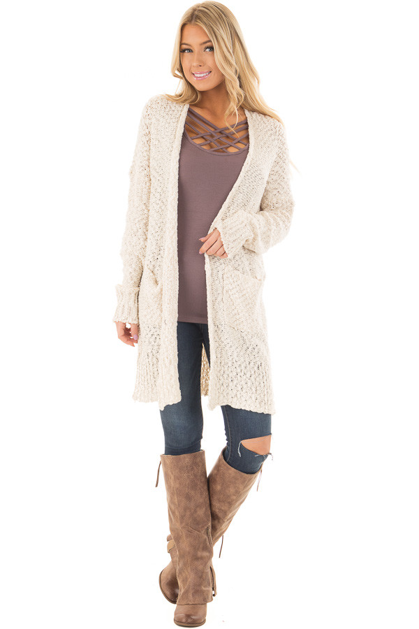 Cream Long Sleeve Open Cardigan with Front Pockets front full body