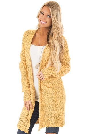 Mustard Long Sleeve Open Cardigan with Front Pockets front closeup