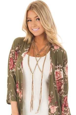 Taupe Faux Suede Layered Necklace with Gold Pendant