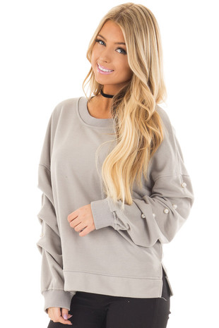 Heather Grey Sweater with Pearl Detailed Sleeves front closeup