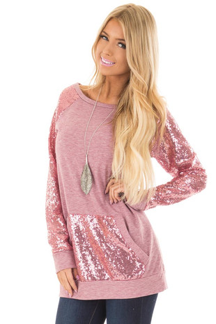 Rose Pink Sweater with Sequin Raglan Sleeves and Pocket front closeup