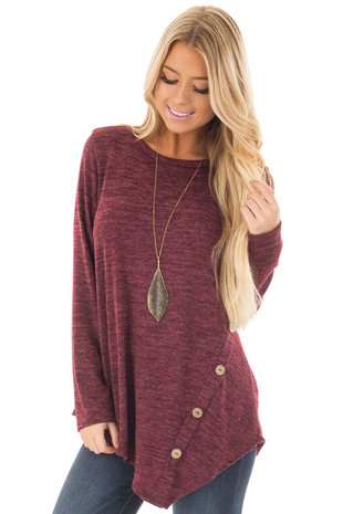 Burgundy Two Tone Asymmetrical Top with Button Details front closeup