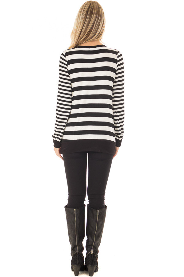 Black and Ivory Striped Long Sleeve Top back full body