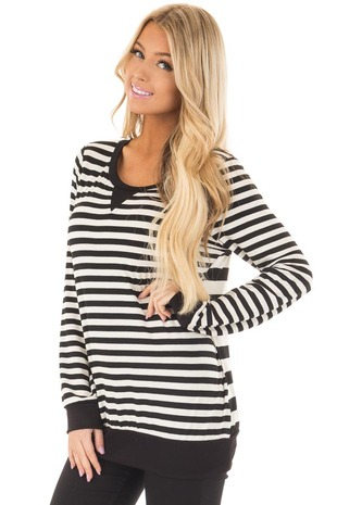 Black and Ivory Striped Long Sleeve Top front closeup