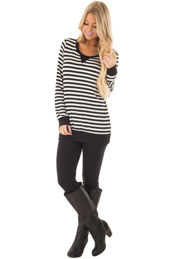 Black and Ivory Striped Long Sleeve Top front full body