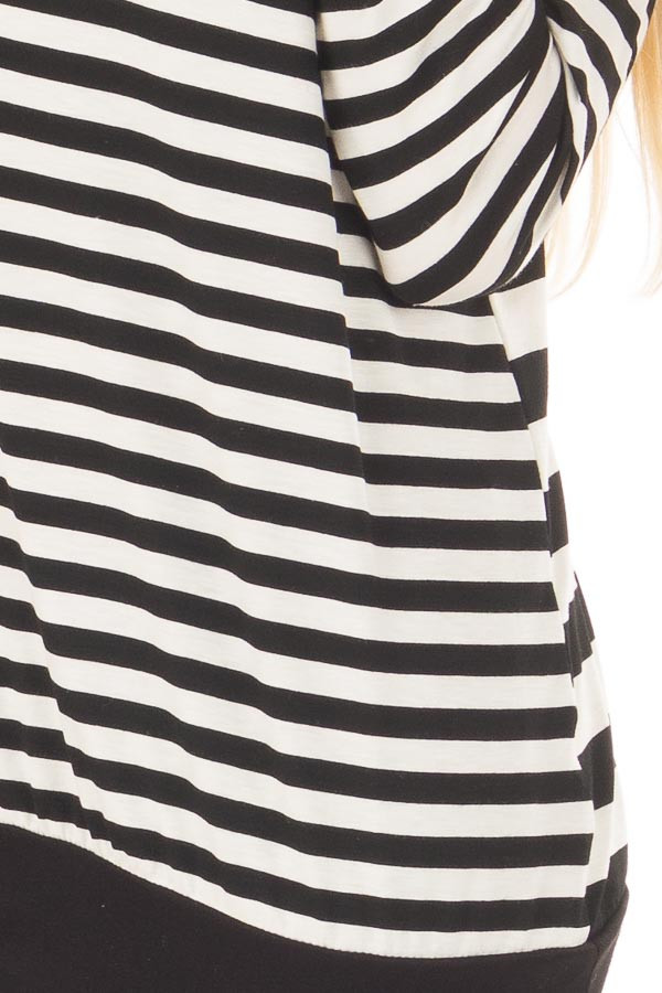 Black and Ivory Striped Long Sleeve Top front detail