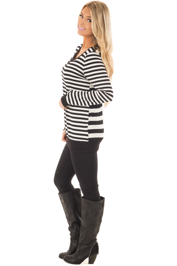 Black and Ivory Striped Long Sleeve Top side full body