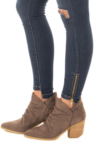 Dark Grey Faux Suede Slouchy Heeled Ankle Booties side view