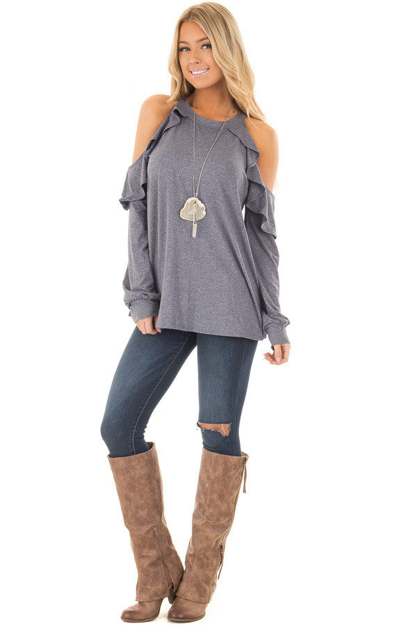 Denim Blue Long Sleeve Cold Shoulder Ruffle Top front full body