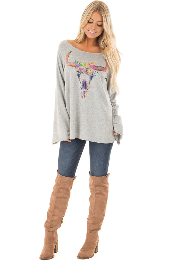 Heather Grey Boatneck Top with Colorful Skull Print front full body
