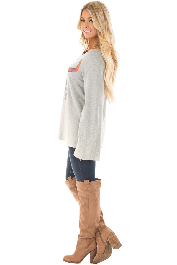Heather Grey Boatneck Top with Colorful Skull Print side full body