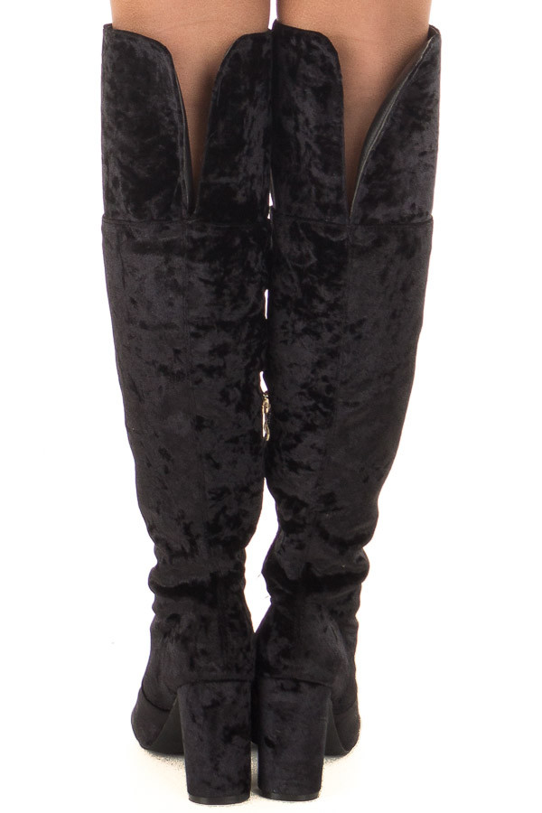 Black Crushed Velvet Tall Heeled Boots back view