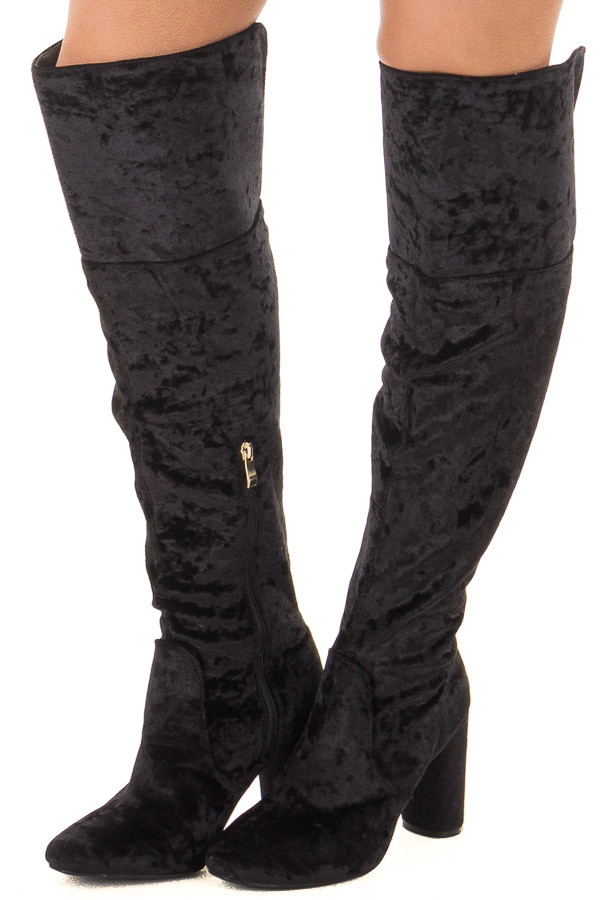 Black Crushed Velvet Tall Heeled Boots front side view