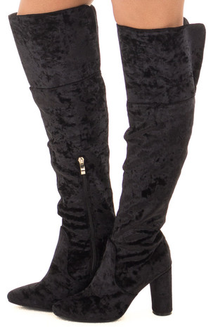 Black Crushed Velvet Tall Heeled Boots side view