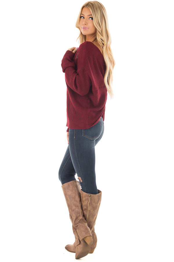 Burgundy Knit Sweater with Open Twist Back side full body